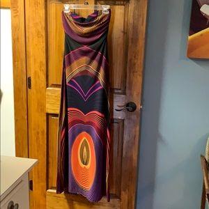 Forever 21 70s inspired strapless maxi dress